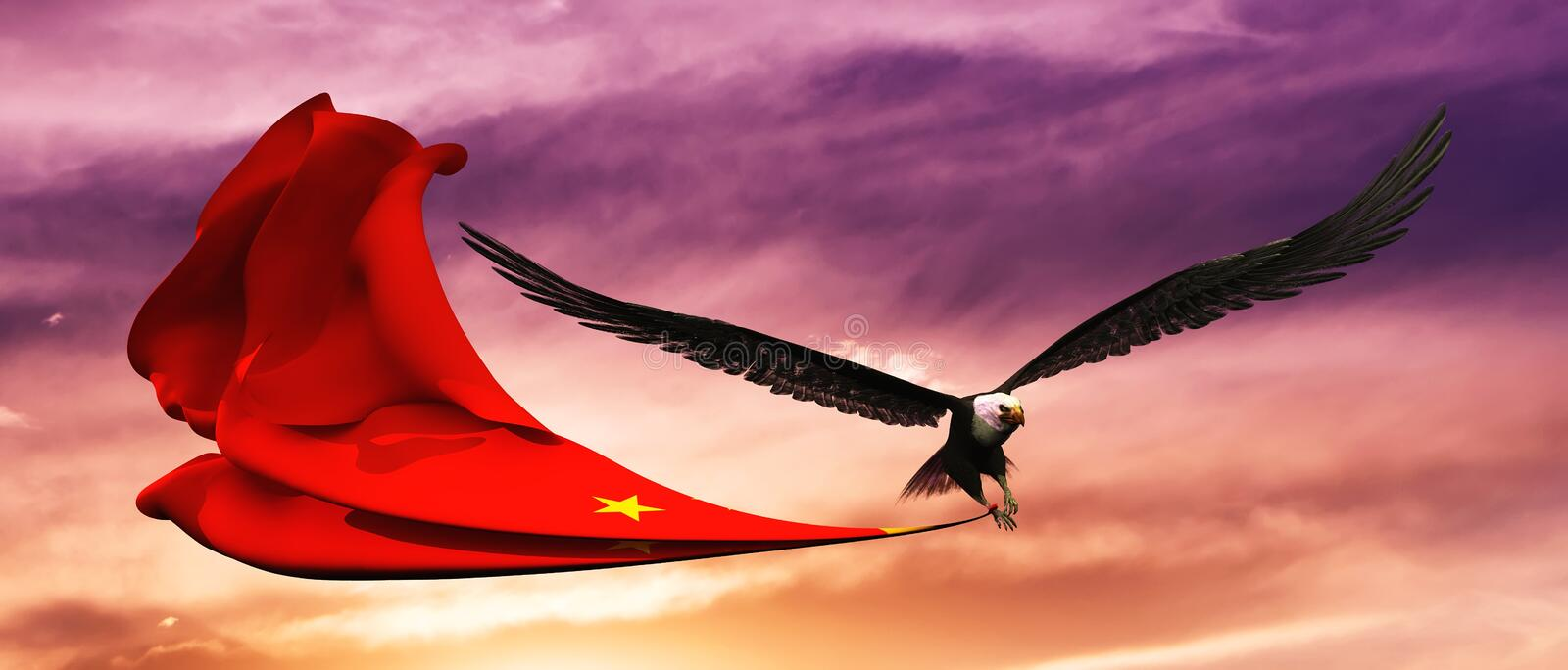 3d illustration of eagle and flag floating in the wind royalty free illustration