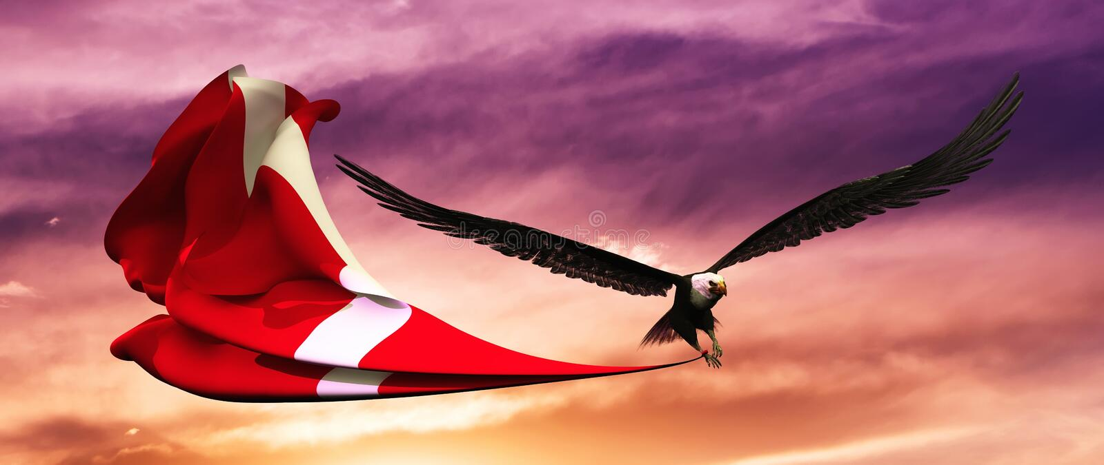 3d illustration of eagle and flag floating in the wind stock illustration