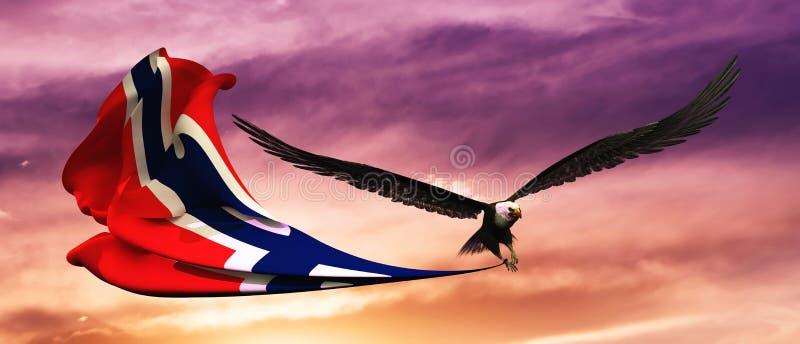3d illustration of eagle and flag floating in the wind vector illustration