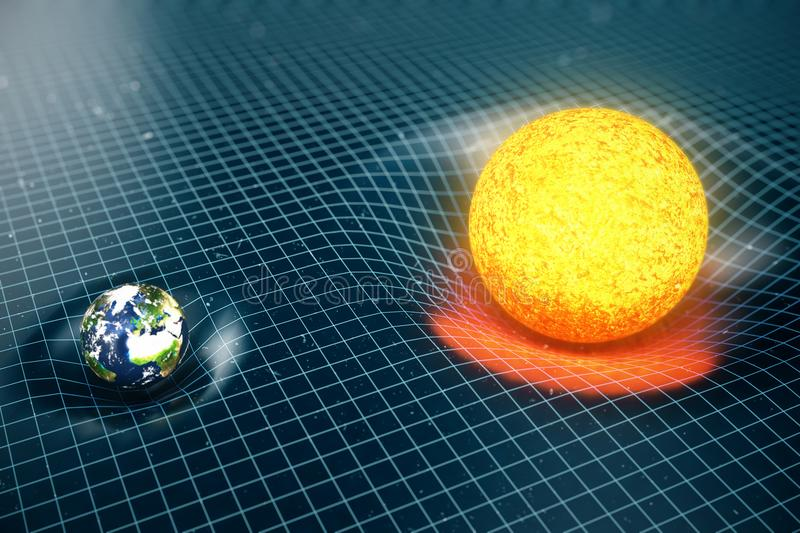 3D illustration Earth`s and Sun gravity bends space around it. With bokeh effect. Concept gravity deforms space time. Grid around universe. Spacetime curvature stock illustration