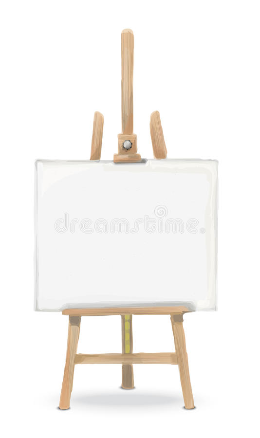 3D illustration of easel with canvas vector illustration