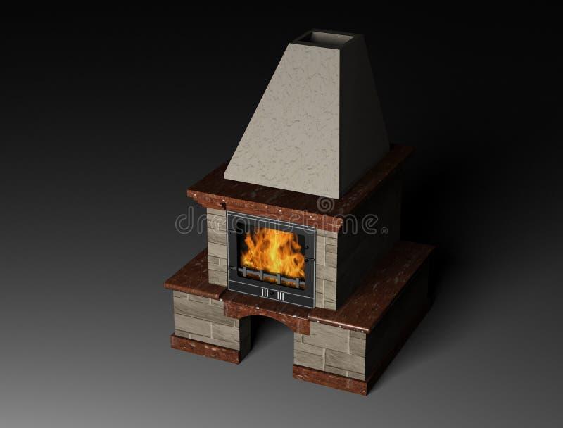 Illustration 3d eines Kamins stock abbildung