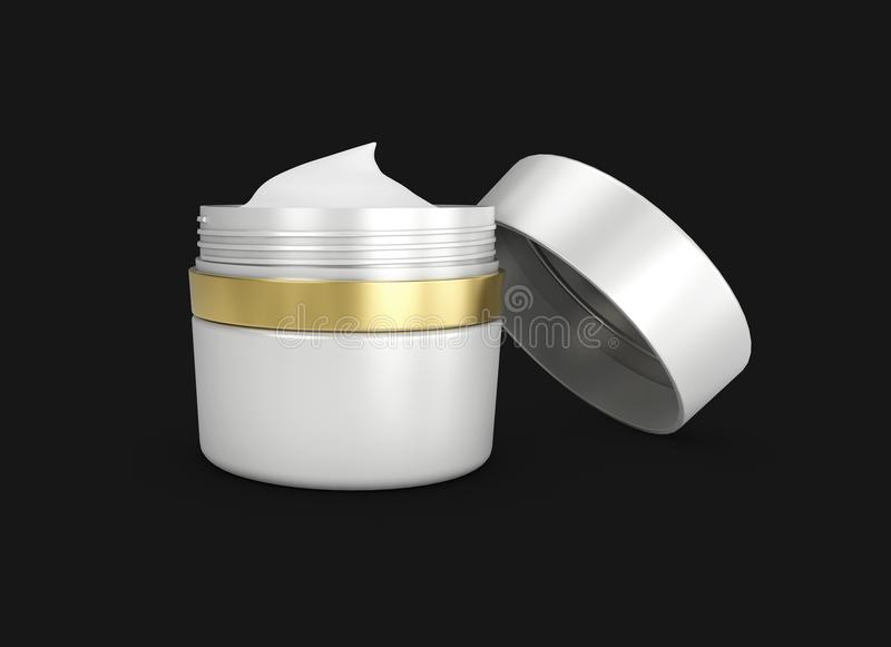 3D illustration of Elegant opened cream container, cosmetic bottle template for cream or gel, isolated black. vector illustration
