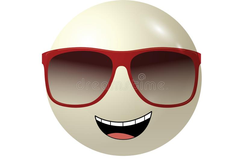 3d illustration emotional icon on white background. Design, mood, smile, art, sunglasses, object, cartoon, ball, big, character, emoji, element, funny, cute stock images