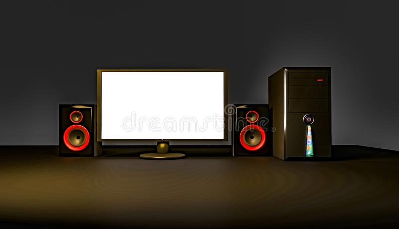 3D illustration of an empty computer screen. Computer, tv, screen, monitor, television, lcd, home, technology, display, , white, black, 3d, theater, plasma royalty free illustration