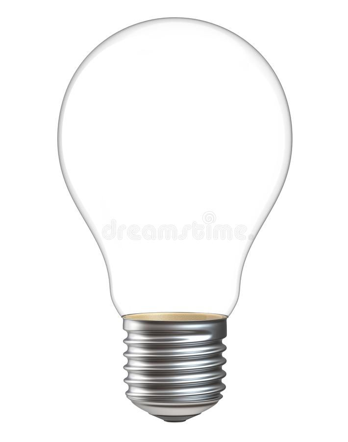 3d illustration of empty light bulb isolated on white background. Realistic 3d rendering of electric lamp without inside royalty free stock photo