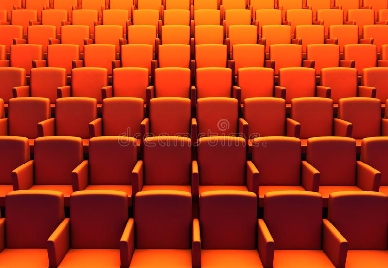 3d illustration of empty  orange chairs in cinema theater. Seat, seats, auditorium, audience, exclusive, movie, one, theatre, performance, event, stage royalty free illustration