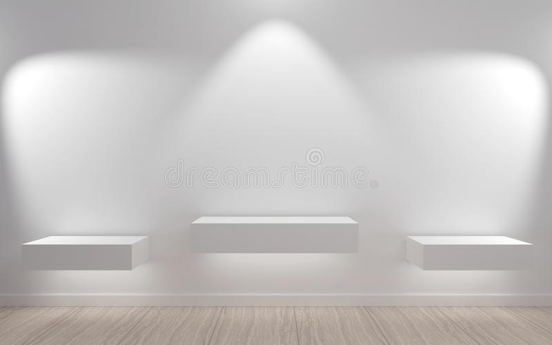 Exhibition shelf on the wall vector illustration