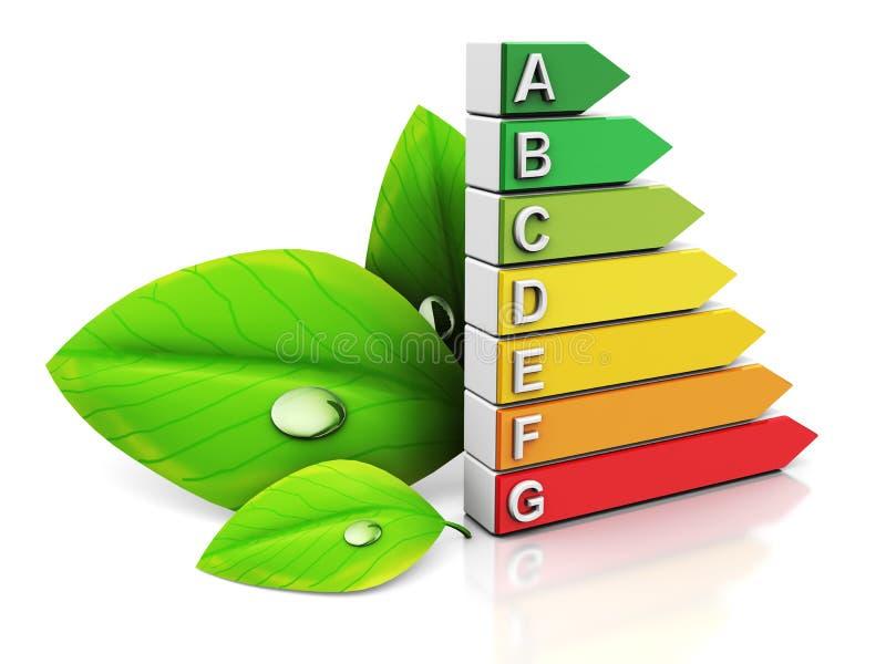 Energy efficiency. 3d illustration of energy efficiency symbol and green leaf stock illustration