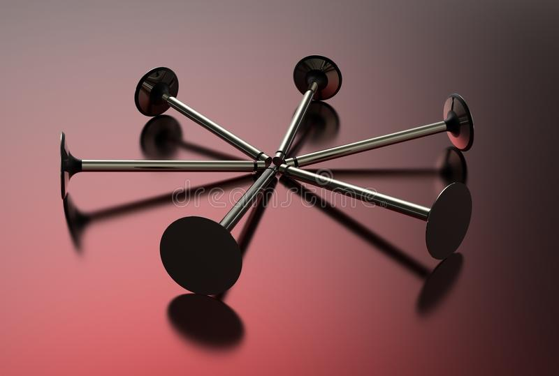 3d illustration of engine valves. On red background royalty free illustration