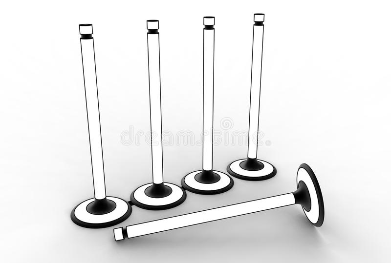 3d illustration of engine valves. On white background vector illustration