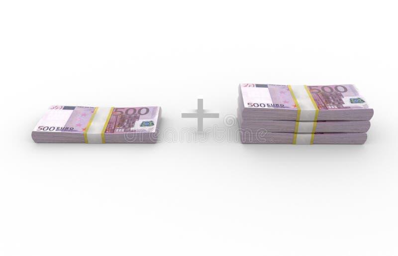 500 EUR stack 1+3 over white background royalty free illustration