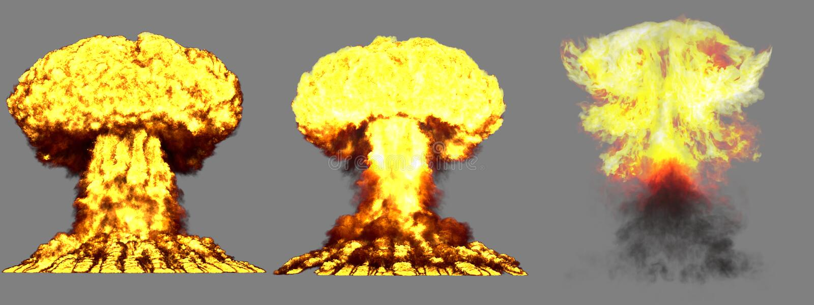 3D illustration of explosion - 3 big highly detailed different phases mushroom cloud explosion of thermonuclear bomb with smoke. 3 large very highly detailed royalty free stock photography