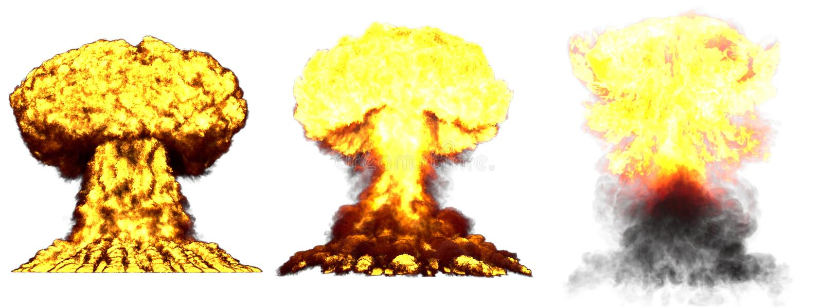 3D illustration of explosion - 3 big very detailed different phases mushroom cloud explosion of nuclear bomb with smoke and fire. 3 huge high detailed different royalty free stock photography