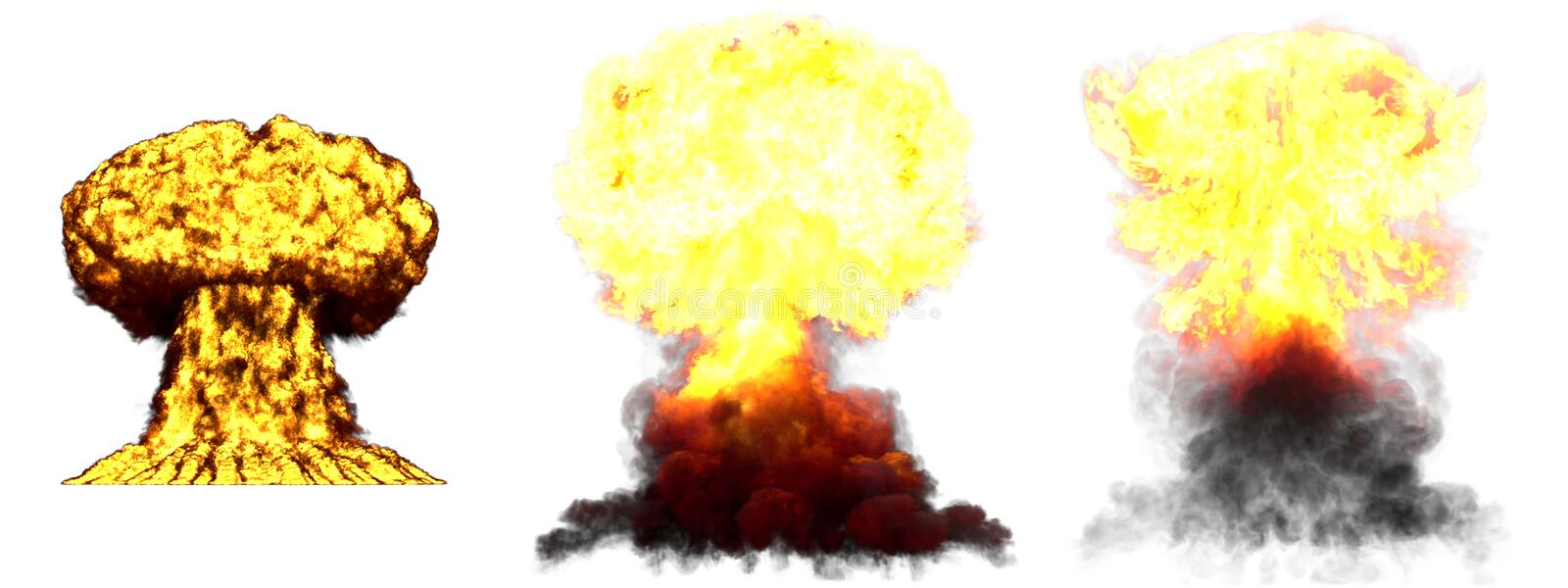 3D illustration of explosion - 3 big very highly detailed different phases mushroom cloud explosion of fusion bomb with smoke and. 3 big high detailed different stock image