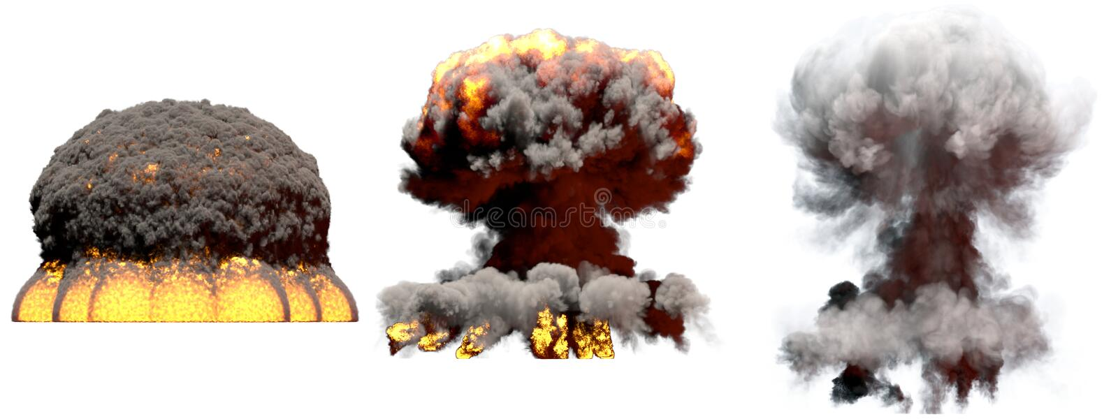 3D illustration of explosion - 3 huge different phases fire mushroom cloud explosion of nuclear bomb with smoke and flame isolated. 3 big different phases fire royalty free illustration