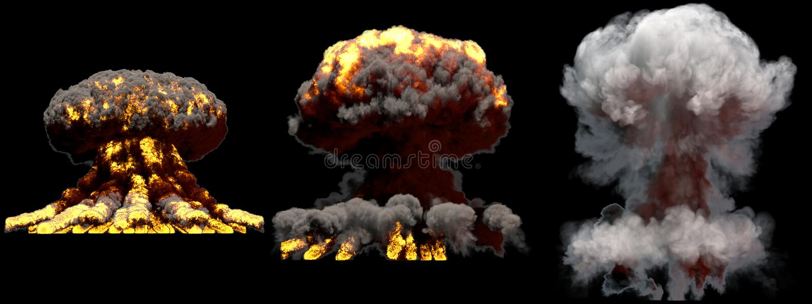3D illustration of explosion - 3 large different phases fire mushroom cloud explosion of atom bomb with smoke and flame isolated. 3 huge different phases fire stock image