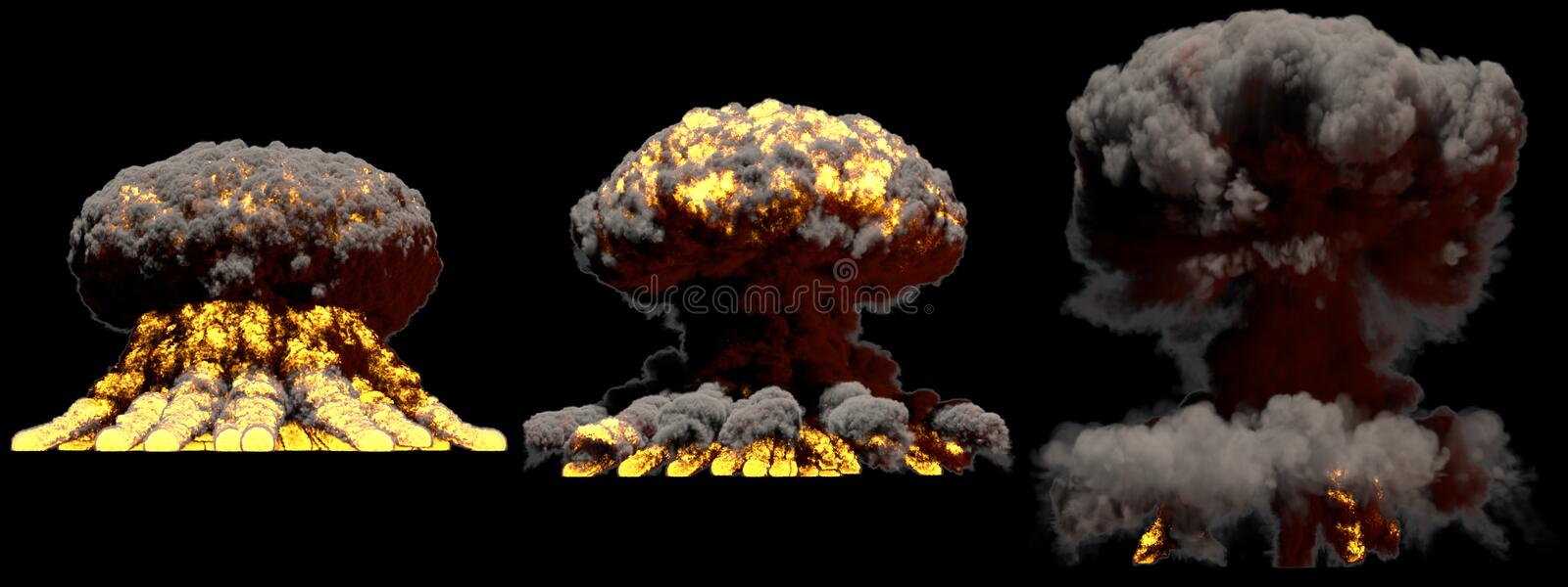3D illustration of explosion - 3 large different phases fire mushroom cloud explosion of nuke bomb with smoke and flame isolated. 3 huge different phases fire stock images
