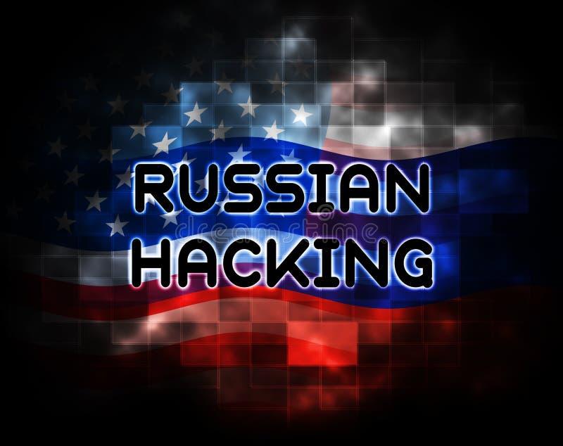 2d illustration för rysk varning för dataintrångvalattack stock illustrationer