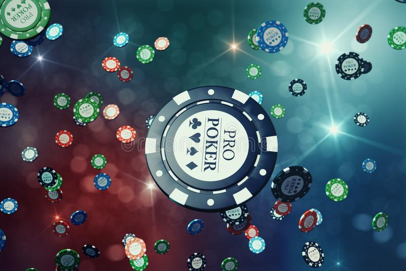 3D illustration Falling casino chips with shiny background. Casino concept, Poker chips.  vector illustration