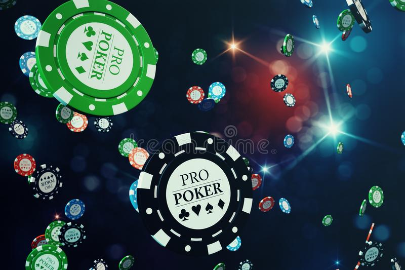 3D illustration Falling casino chips with shiny background. Casino concept, Poker chips.  stock illustration