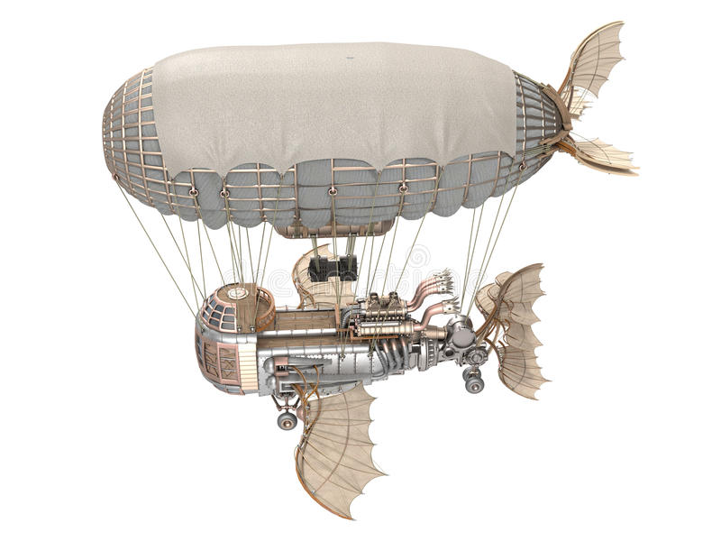 3d illustration of a fantasy airship in steampunk style on isolated white background. 3d illustration of a fantasy airship in steampunk style on isolated vector illustration