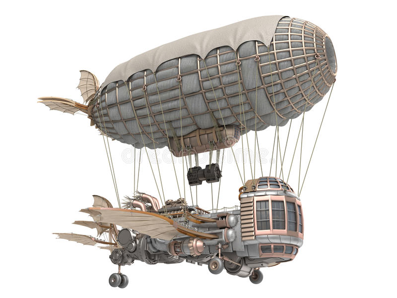 3d illustration of a fantasy airship in steampunk style on isolated white background royalty free illustration
