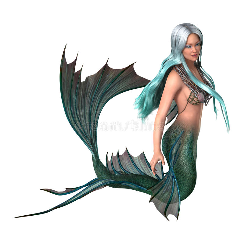 3D Illustration Fantasy Mermaid on White stock illustration