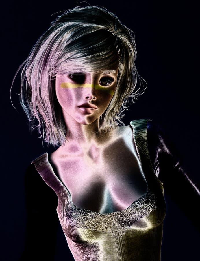 3D Illustration of a Fantasy Woman, Digital Model. 3D Illustration, Rendering of a Fantasy Woman, Digital Model royalty free illustration