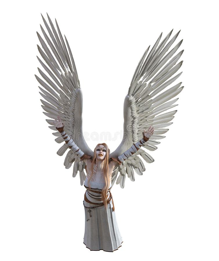 3D Illustration of a female angel with feathered wings stock photo