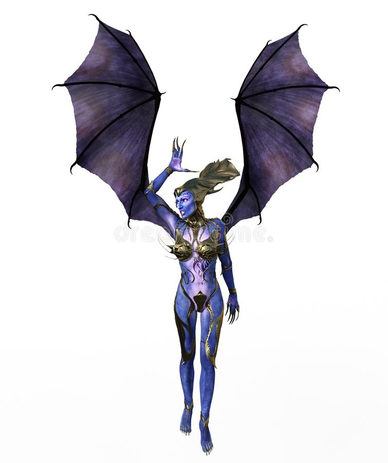 3D Illustration of a female devil with wings and blue skin stock photo