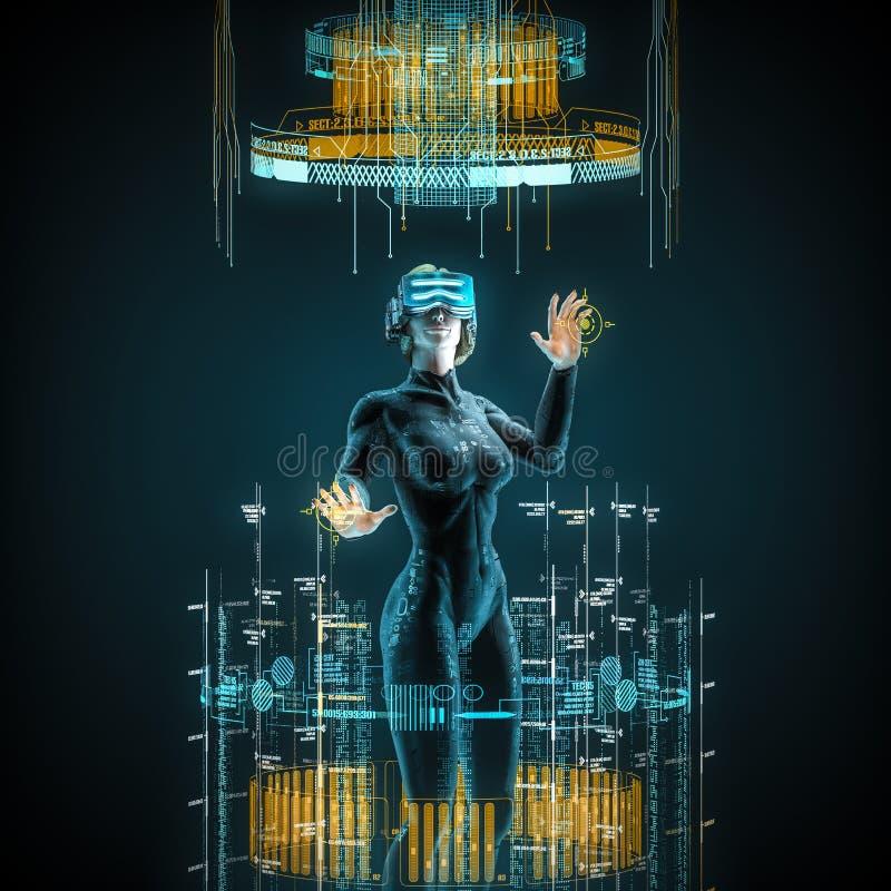 Virtual reality female user vector illustration