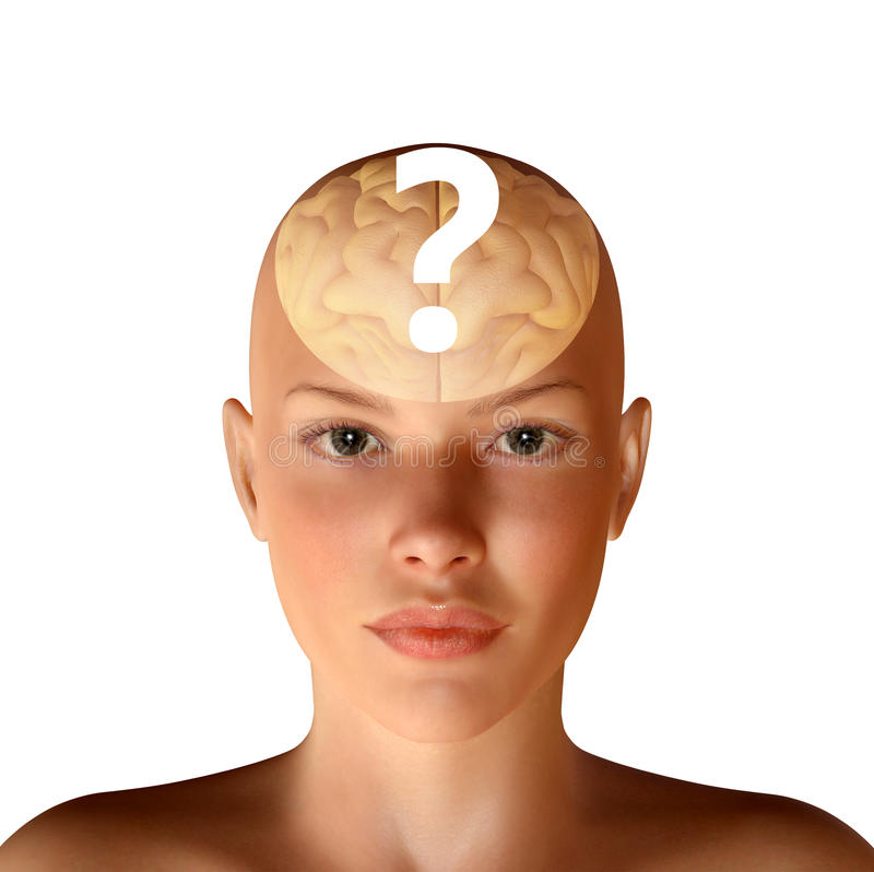 3d illustration of female head with brain and question royalty free illustration