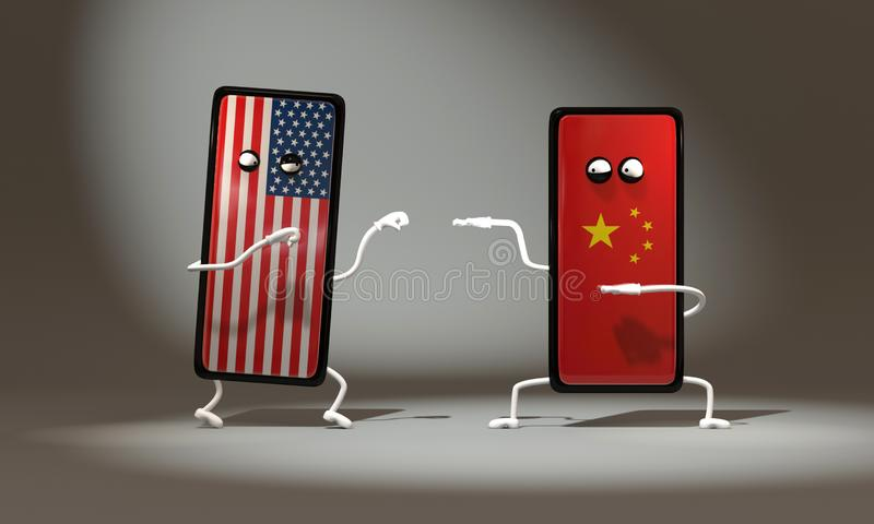 3d illustration Fight between funny phones USA and China. Boxing vs. Kung Fu stock illustration