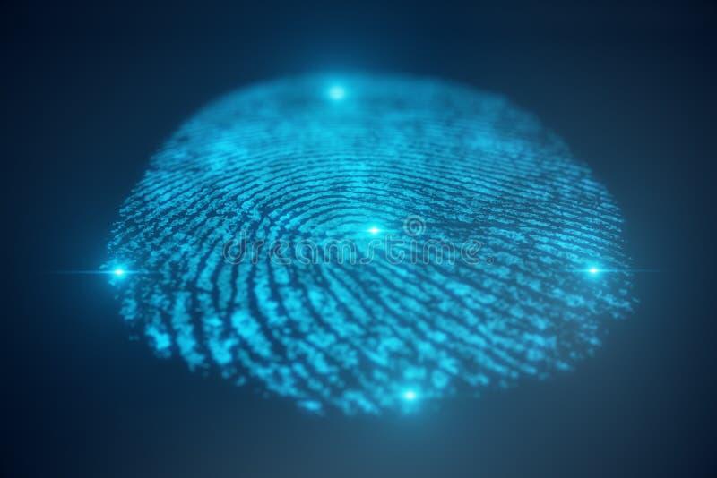 3D illustration Fingerprint scan provides security access with biometrics identification. Concept Fingerprint protection stock illustration