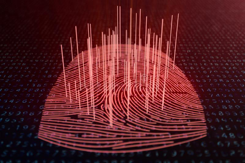 3D illustration Fingerprint scan provides security access with biometrics identification. Concept fingerprint hacking. Threat. Finger print with binary code vector illustration