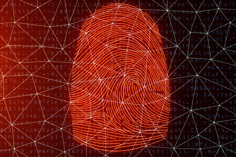 3D illustration Fingerprint scan provides security access with biometrics identification. Concept fingerprint hacking. Threat. Finger print with binary code royalty free illustration