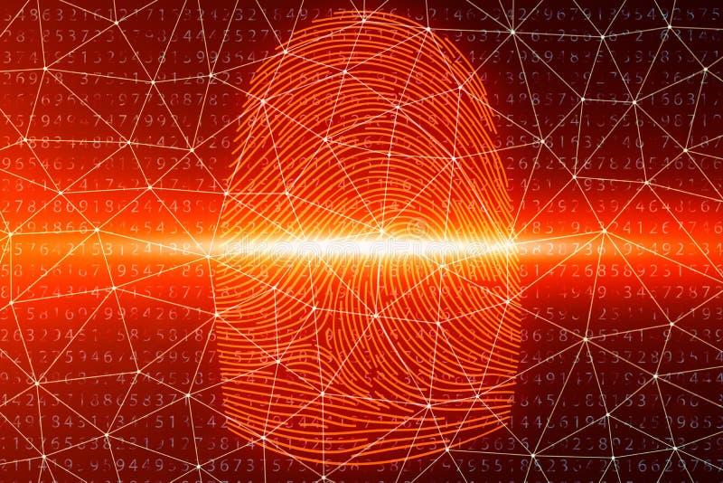 3D illustration Fingerprint scan provides security access with biometrics identification. Concept fingerprint hacking. Threat. Finger print with binary code stock illustration