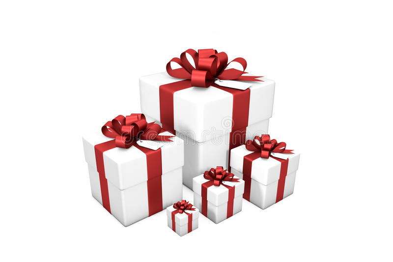 3d illustration: Five white gift boxes from small to large in order of size with red silk ribbon / bow and tag on a white backgro. Und isolated stock illustration