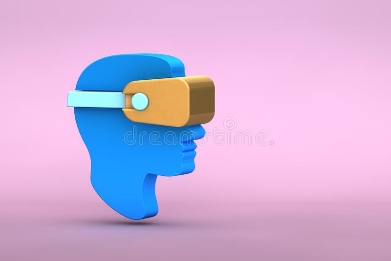 3d illustration of  flat lay modern minimal man head in golden virtual reality glasses icon with shadow on pastel colored pink royalty free illustration