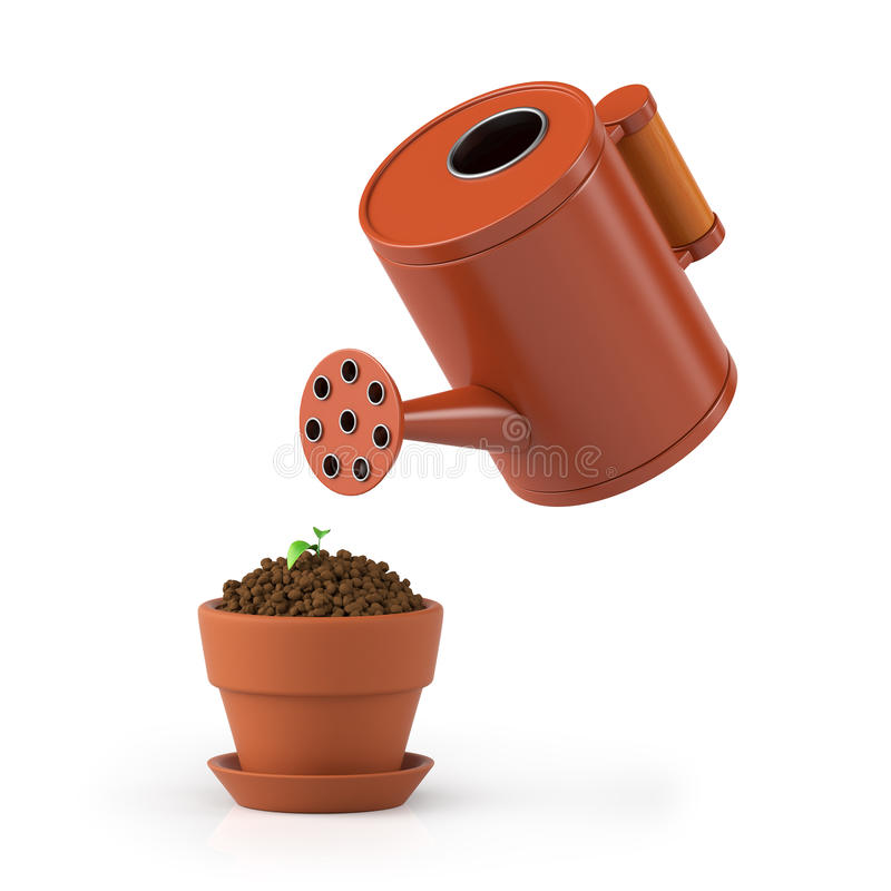 3D illustration. The flower in a pot waters. From a watering can on a white background stock illustration