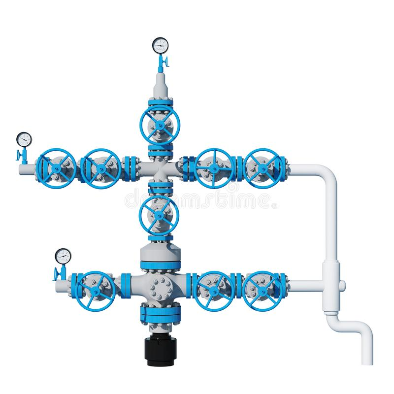 3d illustration Fountain gas fittings natural gas production Grey Blue. Front view, facade royalty free illustration