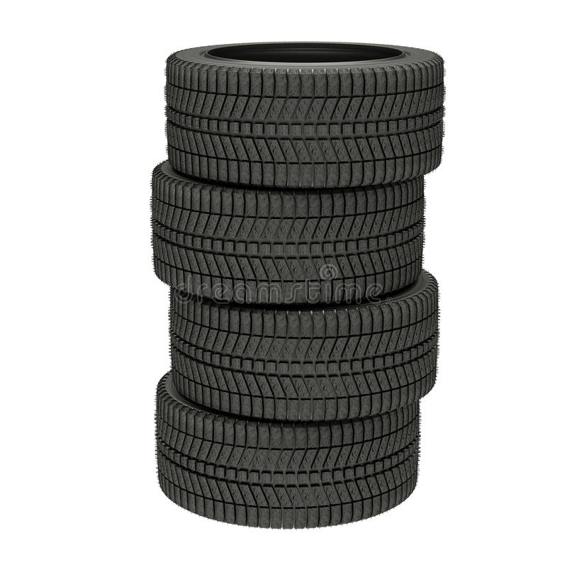 3d illustration four winter tires isolated. 3d illustration winter tires in white background royalty free illustration