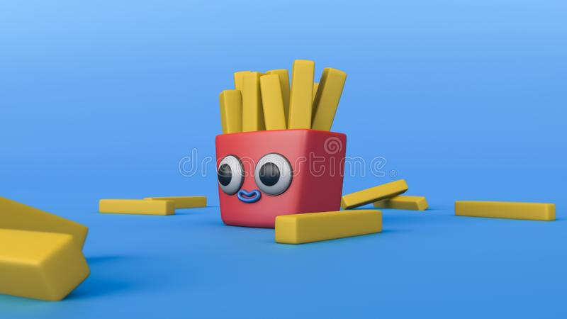 3d illustration of french fries potato fry cartoon character vector illustration