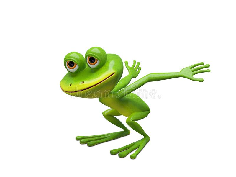 3D Illustration of a Frog Preparing for a Leap. On a White Background stock illustration