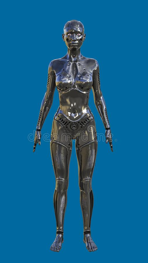 3D Illustration of Futuristic Black Female Human Robot stock illustration