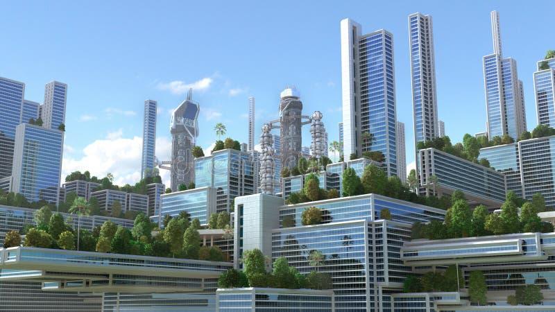 3D Illustration of a futuristic city stock illustration