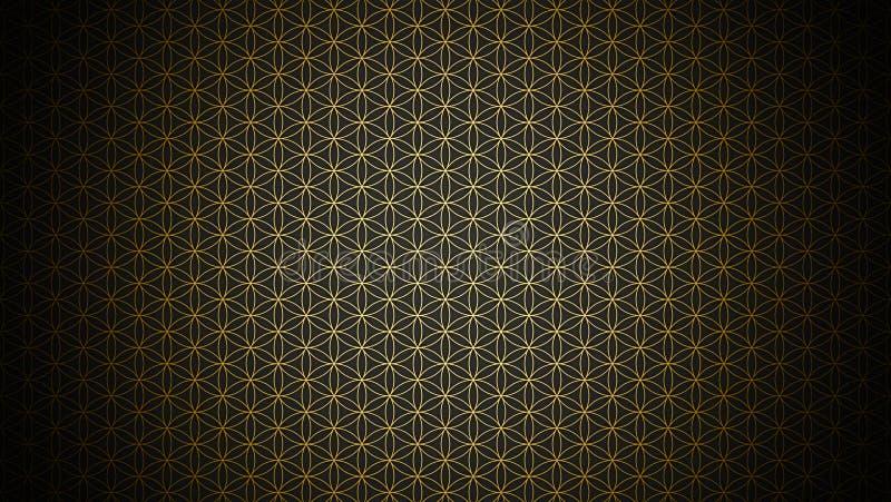 3D Illustration - genesis pattern - the flower of life gold black. Genesis pattern background the flower of life gold black vector illustration