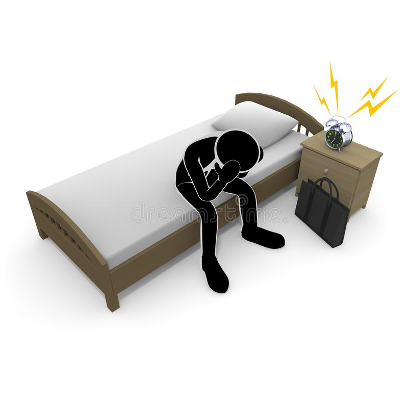 3D illustration Get up early A businessman who does not want to go to work. I am not motivated. I give up my job. I have no energy. I am not well. A lazy person stock illustration