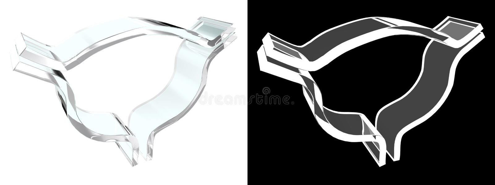 Glass bladder symbol with white background stock photography
